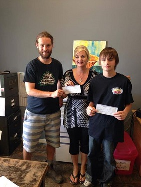 Dyno Day donation - Tamara Cross, Liam, Alex Councell